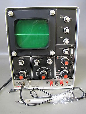 Vintage Rca Dual Mode Oscilloscope Tester - Model # Wo-535A - Tested + Lead Wire