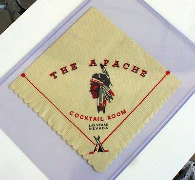 THE APACHE Hotel Casino Napkin Las Vegas Nv Cocktail Room Indian