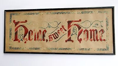 Antique HOME SWEET HOME Punch-Paper Sampler In Original Frame.