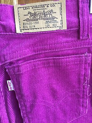 LEVI'S 31425-1591 girl 14 slim 24 X 31 purple corduroy jeans NOS USA VTG 80s NEW