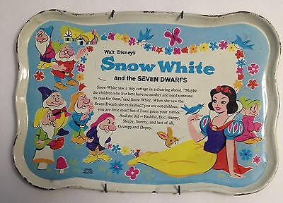 "Rare Vintage Disney Snow White and the Seven Dwarfs tin tray 10.5"" X 7.5""  Nice"