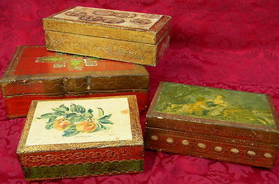 Lot 4 Vintage Italian Florentina Gold Gilt Trinket Boxes Italy Tole Toleware