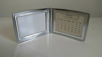 "New Silver Plated Perpetual Calendar & 2""X3"" Picture Frame"