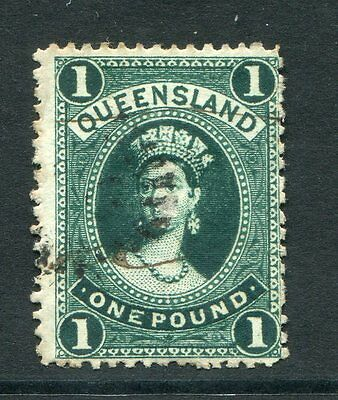 Queensland 1882 1 Pound Deep Green Chalon Sg160 Very Fine Used