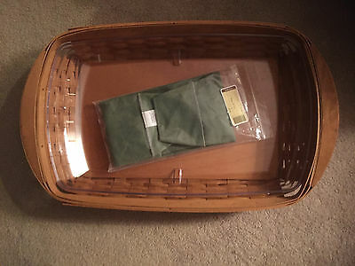 "LONGABERGER 2004 23"" Large Serving Tray Basket side handles Protector Sage Liner"