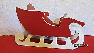 "Santas Red & White Sleigh Wooden Christmas Decoration Holiday Decor 13"" Vintage"