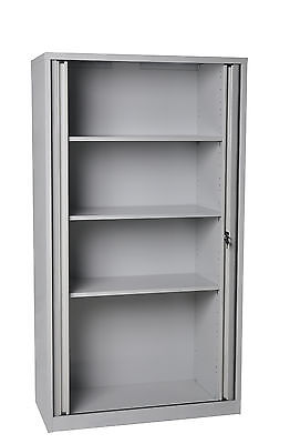 Tambour Receding Door Tool Storage Steel Cupboard Unit Cabinet Assembled