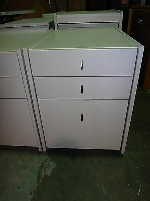 Grey Laminate Mobile Filing Under Desk 3 Drawer Cabinet on Casters