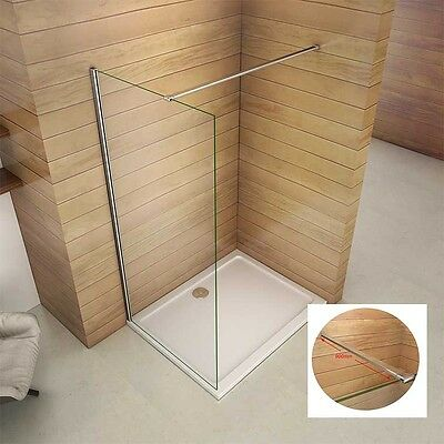 aica wet room shower screen panel cubicle 8mm glass walk in bar 1850 1950 2000mm