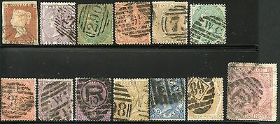 Great Britain Lot Of 13  Various Used Victorian Era Stamps