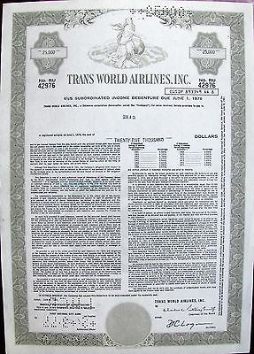 Debenture $25,000 bond Trans World Airlines Inc  TWA, 1978 issued to broker