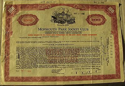 2 different colors. Stock certificate Monmouth Park Jockey Club New Jersey