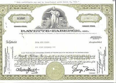 Stock certificate Rayette-Faberge Inc. 1960's
