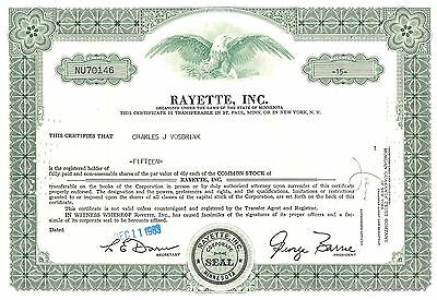 Stock certificate Rayette, Inc ( now Faberge Inc.) 1960's