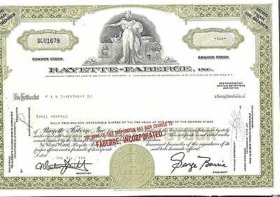 Stock certificate Rayette-Faberge Inc. MN 1969 with transfer tax stamps NY state