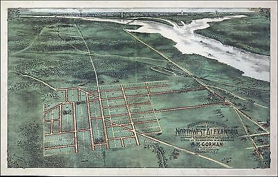 1863 ALEXANDRIA antique VIRGINIA map GENEALOGY atlas  poster early history VA 2