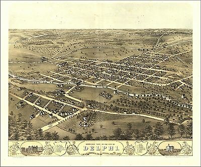 1868 DELPHI panoramic INDIANA map GENEALOGY atlas  poster CARROLL county IN 03