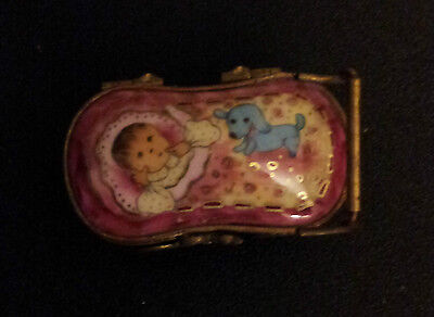 "Limoges Baby In Carriage ""first Tooth"" Trinket Box!!!"