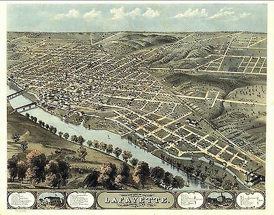 1868 LAFAYETTE INDIANA map GENEALOGY atlas  poster TIPPECANOE county old IN 08