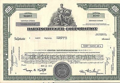 3 different colors. Stock certificate  Harnischfeger Corporation Delaware