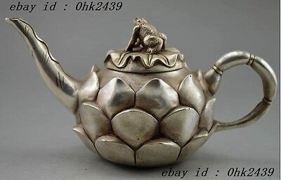 Collectible Decorated Old Handwork Miao Silver Carved Lotus Frog Tea Pot