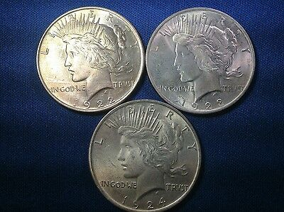 1922,1923,1924  Silver Peace Dollars Coins As Pictured - Nice Set Of Coins