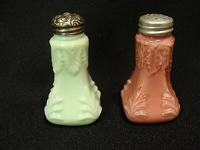 EAPG  Pink Cased & Opaque Green Double Leaf Shakers