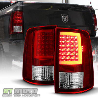 2009-2017 Dodge Ram 1500 10-17 2500 3500 Red Clear LED Tube Tail Lights Lamps