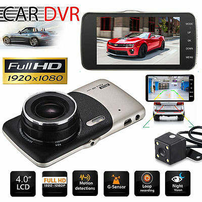 HD 1080P Car DVR Dual Lens Camera Video Recorder Rearview Dash Cam G-sensor