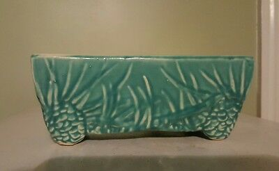 "Vintage McCoy Pine Cone Rectangular Planter Glossy Finish Two Tone Color 8"" x 4"""