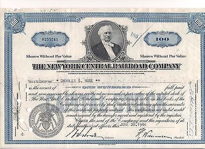 Stock certificate New York Central Railroad Company Delaware with receipt