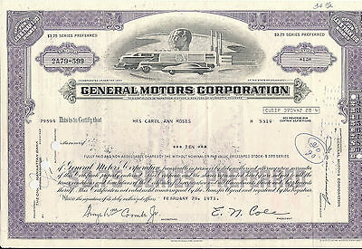 Stock certificate General Motors Corporation dated 1962.  violet