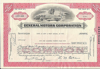 Stock certificate General Motors Corporation dated 1970's pink
