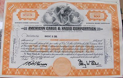2 different.  Stock Certificate American Cable & Radio Corporation, New Jersey.