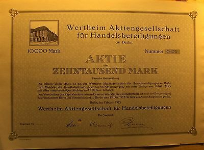 Wertheim für Handelsbeteiligungen- For Trading Investments German Bond, 1923 big