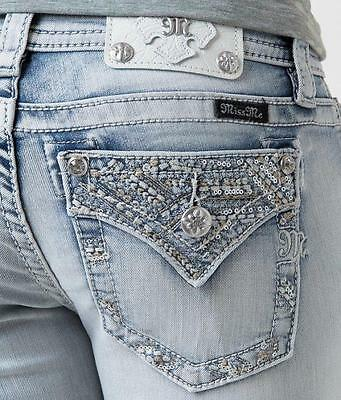 New Miss Me Women Sequined Signature Boot Stretch Jeans 26 $99