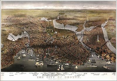 1873 BOSTON old MASSACHUSETTS map GENEALOGY atlas  poster SUFFOLK county MA 16