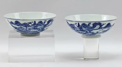Pair Small Antique Porcelain Chinese Footed Blue & White Figural Landscape Bowls