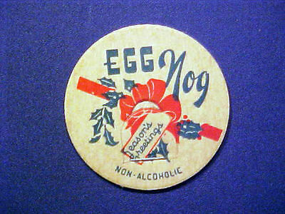 Vintage Milk Bottle Cap - Egg Nog Season's Greetings Non-Alcoholic