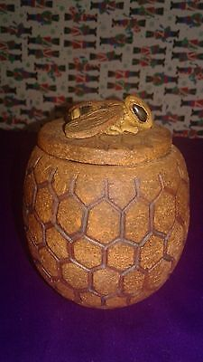 Ceramic Hexagonal Honeycomb Pot With Bee Handmade Red Clay