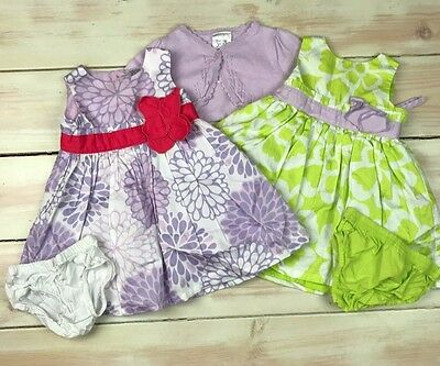 Carter's Baby Girl Lot of 2 Summer Dresses & Cardigan Size 6 months