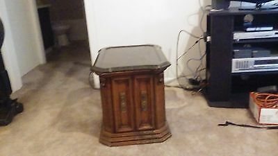 Pair of (2) Wood w/ removable marble top end tables with doors space nice shape