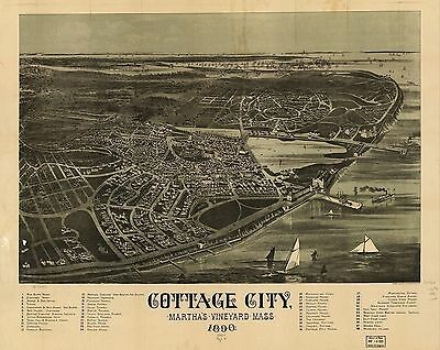 1890 COTTAGE CITY MASSACHUSETTS map GENEALOGY atlas  poster  Marthas Vineyard 72
