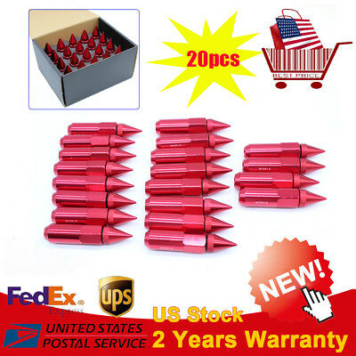 20pcs Red M12X1.5 Spiked Extended 60mm Aluminum Tuner Wheel Rims Lug Nut SALE