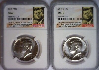 2017 P & D NGC MS66 KENNEDY HALF 50c MS 66 2 COIN SET