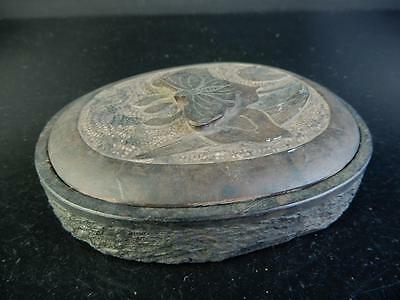 C6834: Chinese Stone sculpture INKSTONE with a lid Calligraphy tool