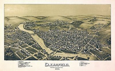 CLEARFIELD PENNSYLVANIA  1895 map old genealogy family history pa36