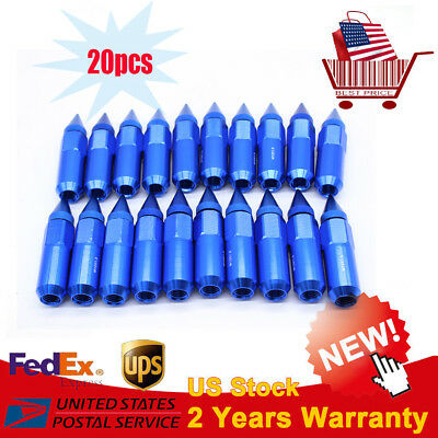 20Pcs 60mm Blue Spiked Aluminum Extended Tuner M12X1.5 Wheels/Rims Lugs Nuts