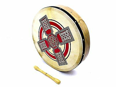"ProKussion Red Celtic Cross Design 16"" Diameter Irish Bodhran and Beater"