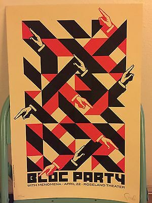 Limited-edition Bloc Party and Menomena poster by Dan Stiles signed and numbered